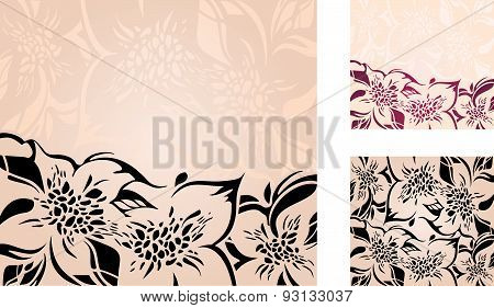 Floral decorative holiday background set