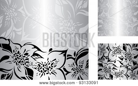 Silver  Floral Decorative Holiday Background Set With Black And White Ornaments.eps
