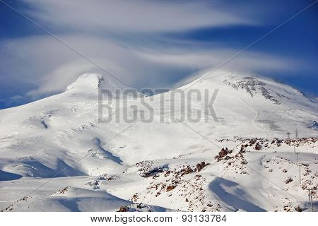 two snow-capped peaks of mount elbrus