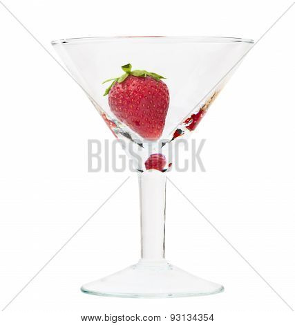 Ripe Strawberry In Glass Isolated Over White