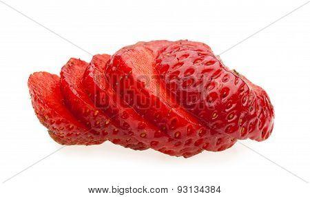 Macro Of Juicy Sliced Strawberry