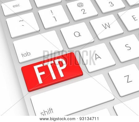 Computer Keyboard With Ftp Button. 3D Rendering