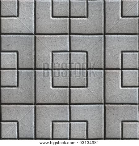 Concrete Slabs Paving Gray in the Form Square of Different Geometric Shapes.