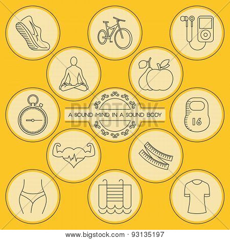 Round Outlined Health And Fitness Icons Set