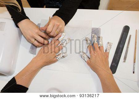 Manicure Process In A Beauty Salon, A Closeup