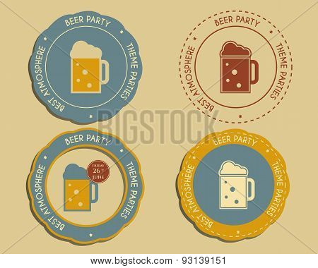 Beer Party Logo And Badge Templates With Glass Of Beer. Vintage Design For Club, Pub Or Night Beer P