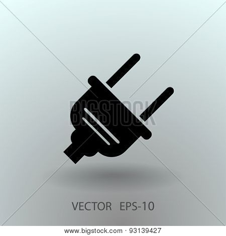 Flat a power plug  vector icon