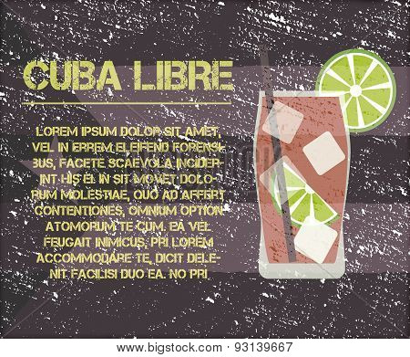 Cuba Libre Cocktail With Text Description. Retro Design. On Vintage Cuba Flag Background. Vector