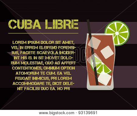 Cuba Libre Cocktail With Text Description. Modern Design. On Stylish Cuba Flag Background. Vector