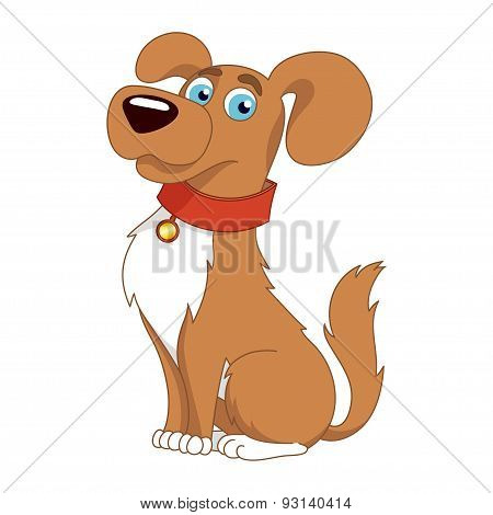 Vector illustration of cute dog wearing a red collar with gold tag