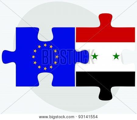 European Union And Syria Flags