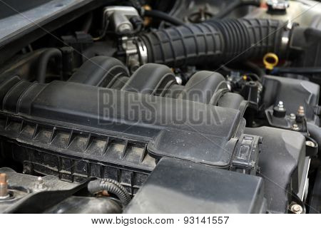 Engine under hood of car