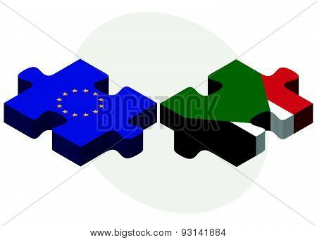 European Union And Sudan Flags
