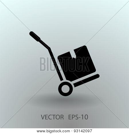 Flat long shadow Hand truck icon, vector illustration