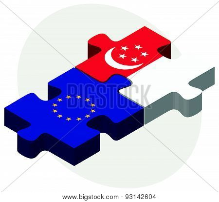 European Union And Singapore Flags In Puzzle