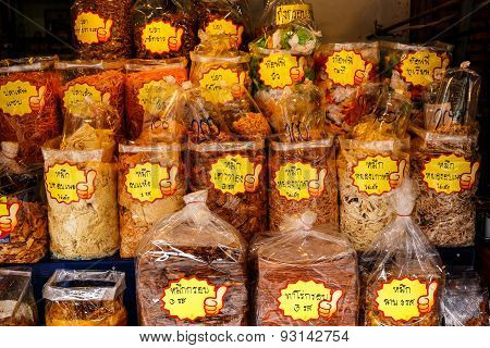 Bangkok, Thailand - May 31: Dried Seafood Packaged In Bags For Sale In Bangkok On May 31, 2015 In Ba