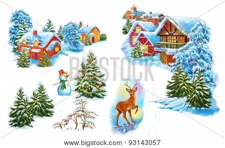 Set cartoon winter landscape the house and trees for fairy tale Snow Queen