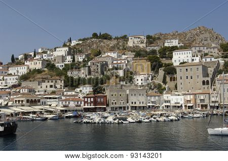Picturesque Island Of Hydra In Saronic Gulf
