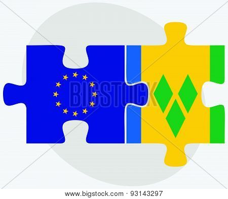 European Union And Saint Vincent And The Grenadines Flags