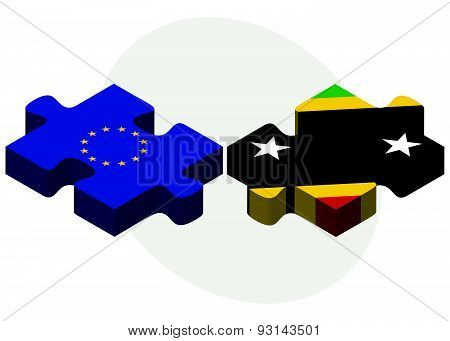 European Union And Saint Kitts And Nevis Flags