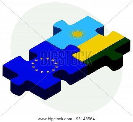 European Union And Rwanda Flags