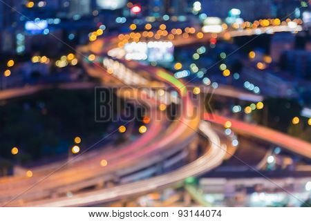 City highway crossover, blur bokeh lights view