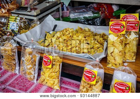 Bangkok, Thailand - May 31: Dried Fruit Packed In Bags For Sale In The Markets Of Bangkok On May 31,