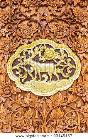 Dog Wood Carving Wall Sculptures In Thai Temple