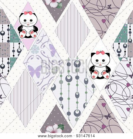 Patchwork Kids Seamless Pattern With Ornaments And Cats Background