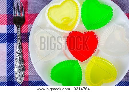Shape Heart Gelatin Sweet Dessert