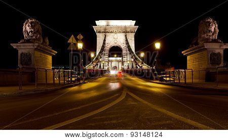 Szechenyi Chain Bridge At Night With Cars, Budapest