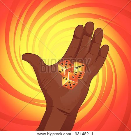 Hand With Dices On Yellow And Red Background