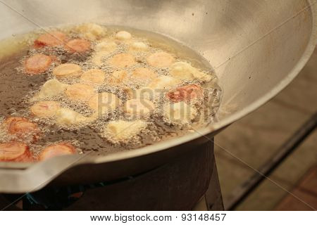 Meatballs Frying In A Pan At The Market