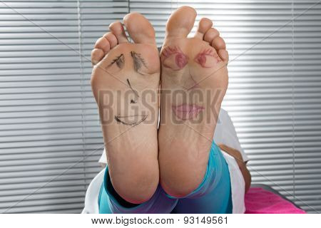 Happy And Funny Couple Summer Feet