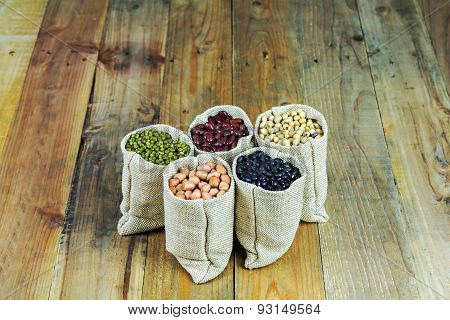 Beans On Vintage Wooden Boards Still Life