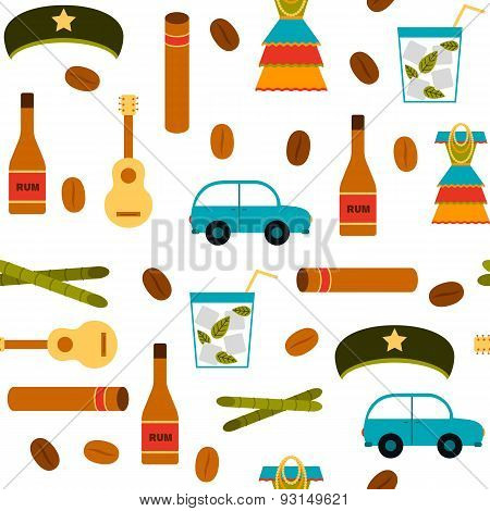 Seamless background with flat colorful objects on Cuba theme