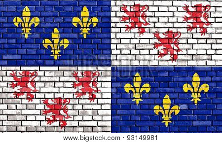 Flag Of Picardy Painted On Brick Wall