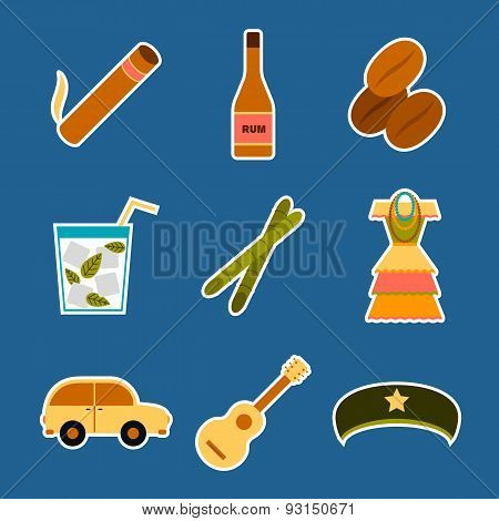 Set of flat colorful stickers on Cuba theme