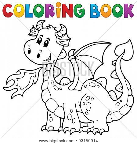 Coloring book with happy dragon - eps10 vector illustration.