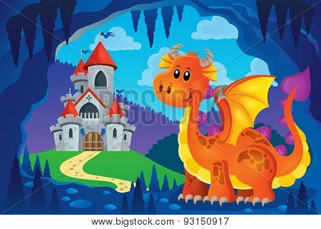 Image with happy dragon theme 6 - eps10 vector illustration.