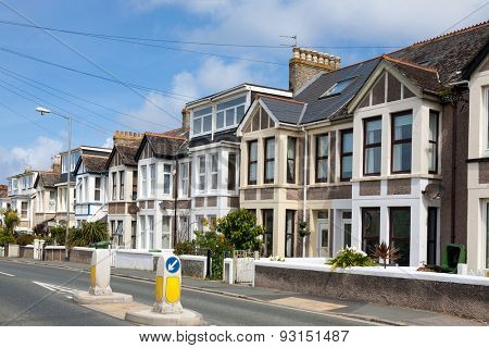 English Homes.Row of Typical English Terraced Houses