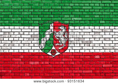Flag Of North Rhine-westphalia Painted On Brick Wall