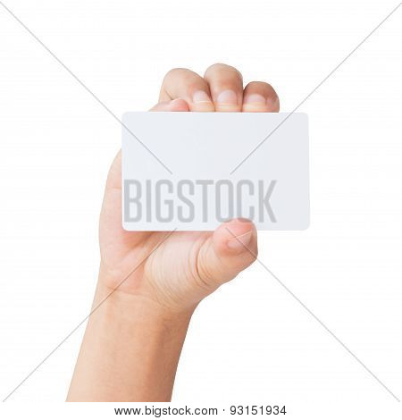 Hand Hold Blank Card Isolated Clipping Path Inside