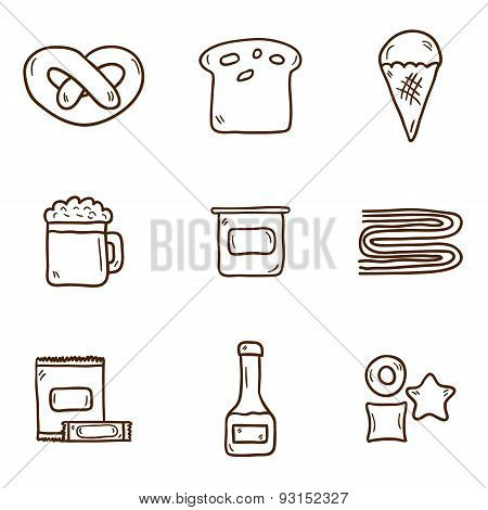Set of cute hand drawn icons with allergic gluten products: bread, pastry, pasta, beer, yogurt, ice