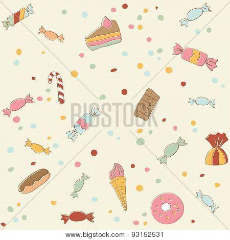 Cute sweets seamless pattern. Retro stile illustration