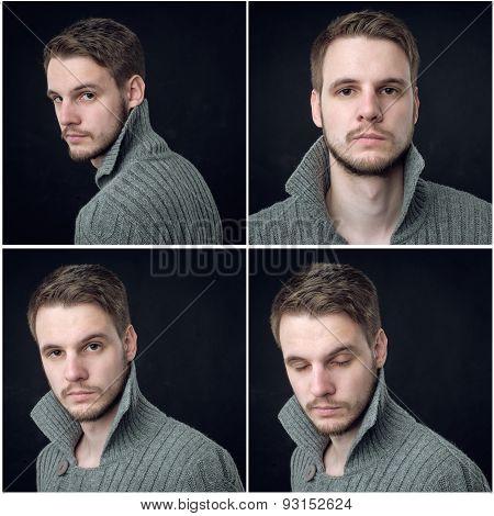 Collage Of Elegant Man In Cardigan