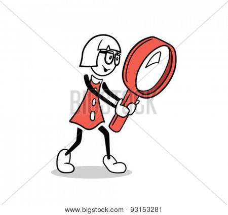 Digitally generated Cute cartoon businesswoman with magnifying glass