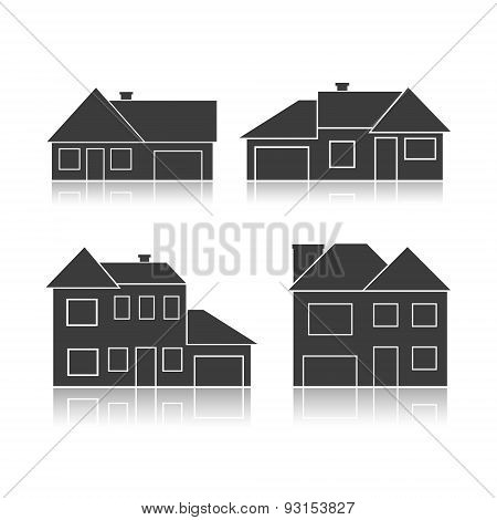 Set Of Black Silhouettes Cottages