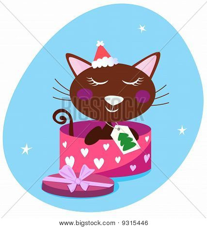 Brown christmas cat in pink gift box