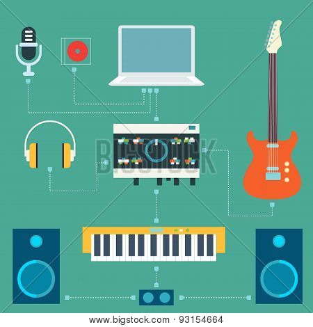 Scheme of sound recording studio. Flat design elements. Vector i